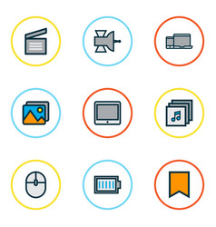 Multimedia icons colored line set with albums vector