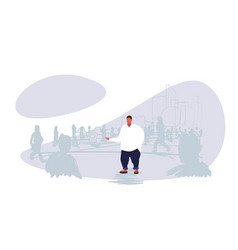 obese fat man standing out from crowd people vector image