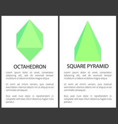 octahedron and square pyramid colorful poster vector image