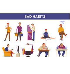 People bad habits and behavior icons vector