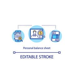 Personal balance sheet concept icon vector
