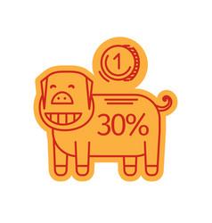 Piggy bank linear icon vector