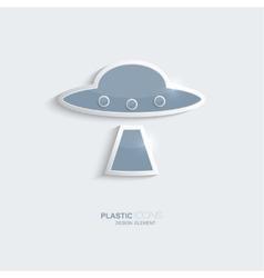 Plastic icon ufo symbol vector