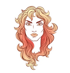 Portrait of girl with red coral long hair isolated vector