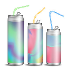 Realistic metallic can soft energy drink vector