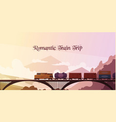 Romantic train trip background vector