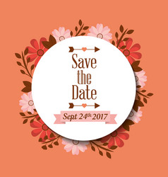 save the date greeting card floral label vector image