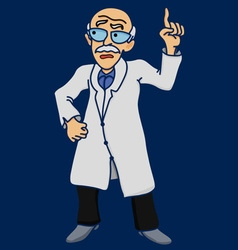 Scientist old man disgruntled comic vector image