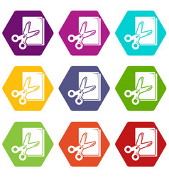 scissors paper icons set 9 vector image