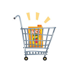 shopping cart with apple juice vector image