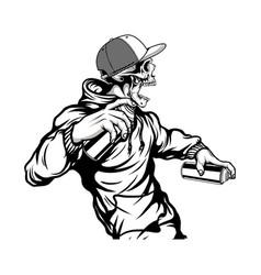 Skull wearing a hat holding graffiti paint vector