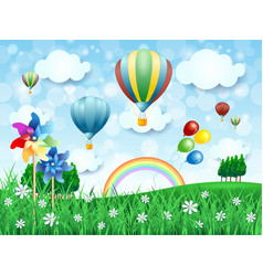 Spring landscape with hot air balloons vector