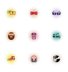 Subculture hipster icons set pop-art style vector