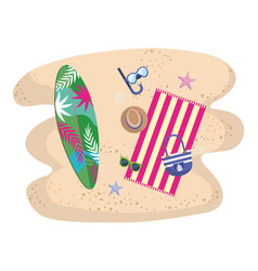 summer and vacation icon set design vector image