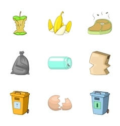 Waste icons set cartoon style vector