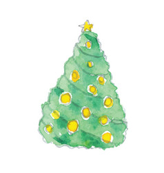 Watercolor christmas tree with yel vector