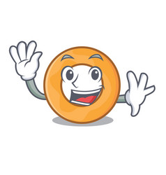 Waving onion ring character cartoon vector
