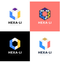 webli l i hexagon triangle alphabet letter vector image