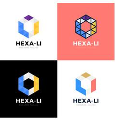 Webli l i hexagon triangle alphabet letter vector