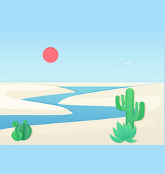 White sand desert landscape with oasis river vector