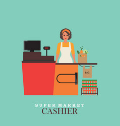 Woman cashier smiles and standing in supermarket vector
