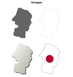 Yamagata blank outline map set vector