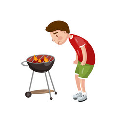young man cooking bbq for his friends cartoon vector image