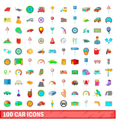 100 car icons set cartoon style vector image