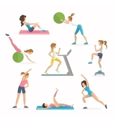 Aerobics fitness exercises Dropping excess fat vector image vector image