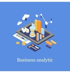 Business concept 3d isometric infographic data vector image vector image