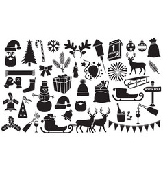 christmas and new year icons collection vector image vector image