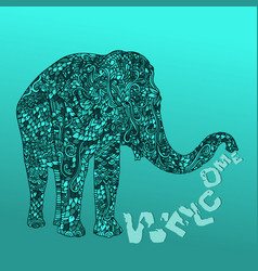Elephant in asian style mandala pattern on blue vector