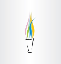 olympic fire torch colorful flame icon vector image vector image