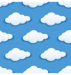 Seamless background with fluffy clouds vector image