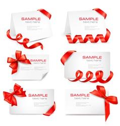 big set of red gift bows and ribbons vector image vector image
