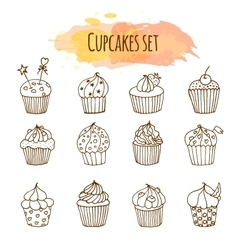 cupcake Set of 12 cute hand vector image
