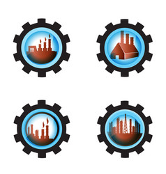 Gear blue industrial petrochemical factory icon vector