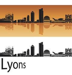 Lyons skyline in orange background vector image