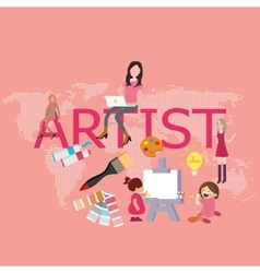artist drawing since kids become graphic designer vector image vector image
