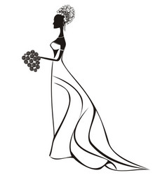 beautiful bride with floral dress and veil vector image
