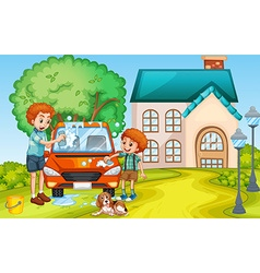 Dad and son washing car at home vector image vector image