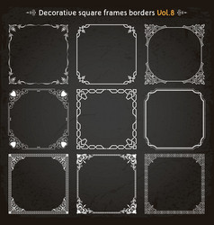 decorative square frames and borders set 8 vector image vector image