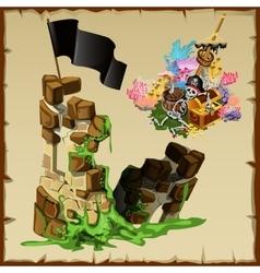Fortress ruins of pirates and abandoned treasure vector image