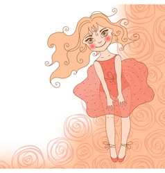 Girl in a red dress vector image vector image