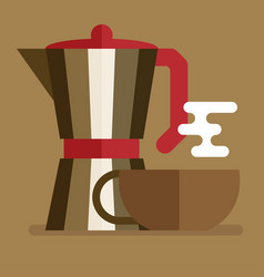 italian coffee maker and cup flat icon vector image vector image