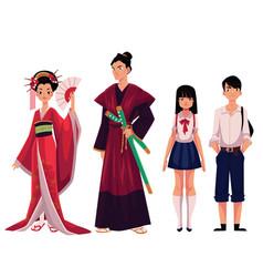 japanese people - geisha and samurai typical vector image