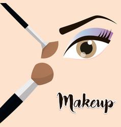 makeup eye girl brush design vector image