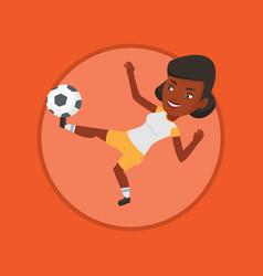 Soccer player kicking ball vector