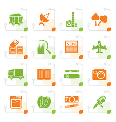 Stylized business and industry icons vector