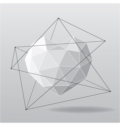 White geometrical heart background vector image